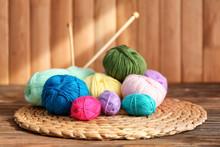 Colorful Knitting Yarn On Wick...