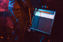 Guitar Player In Front Of Amplifier Playing Music