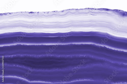 Fototapety, obrazy: Abstract background - blue agate slice mineral isolated on white background