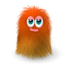 Fluffy Funny Orange Monster Or Alien
