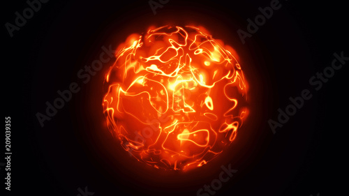 3d animation of abstract isolated fiery red and orange