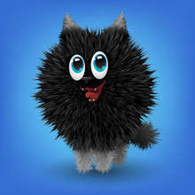 Funny Little Animal, Fluffy Black Dog