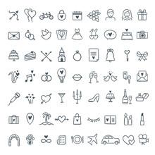 Hand Drawn Wedding Icons Set. Outline Symbols Wedding And Celebration Illustrations. Love, Celebration, Gifts Symbols