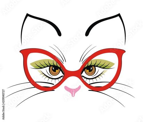 Fotografia Hand drawn portrait of a cute cartoon funny cat in sunglasses