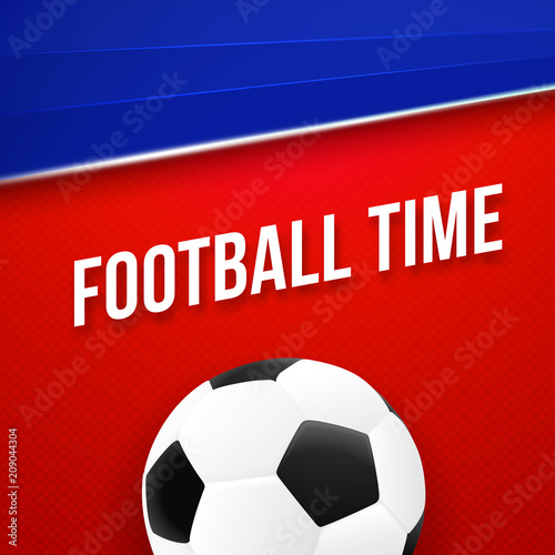 football time sport poster design red and blue color vector