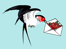 Swallow Carrying An Envelope With A Letter And A Rose