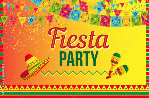 Fototapeta Colorful Vector Design Of Invitation Card Calling To Fiesta Party In Ethnic Vivid Style On Yellow Background