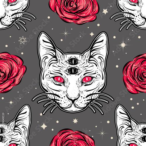 Materiał do szycia Z czterech oczach kot i róże w styl sztuka tatuaż wzór.