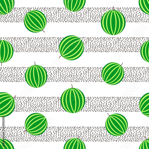 Cotton fabric Seamless pattern with colorful watermelons slices and black dots on the white background
