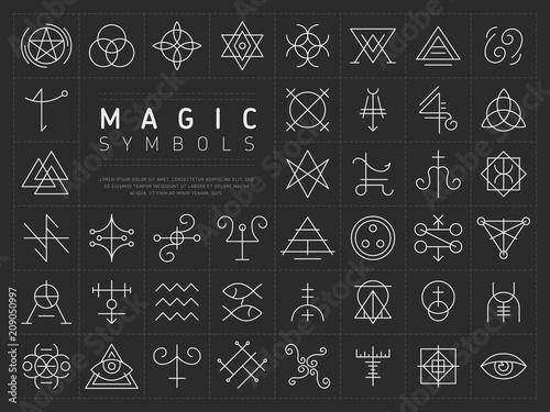 Fotografía  Vector collection of various simple linear white symbols od magic craft on dark