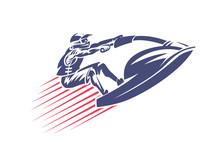 Jet Ski. Vector Sport Emblem