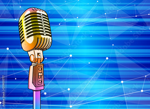 Finding Some Spots Of Bright Color At >> Golden Microphone On A Bright Multi Colored Background Vector