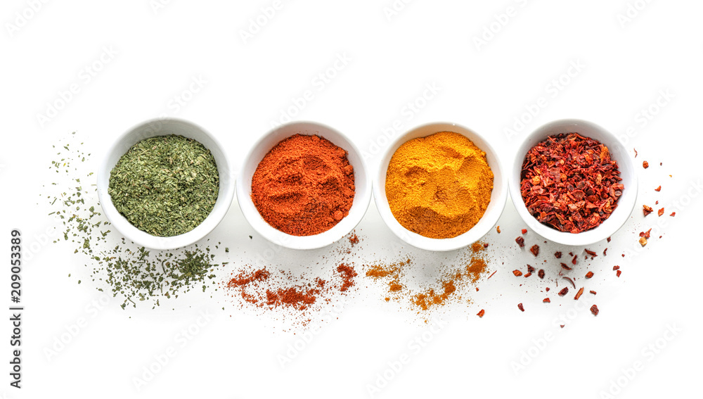 Fototapety, obrazy: Bowls with various spices on white background