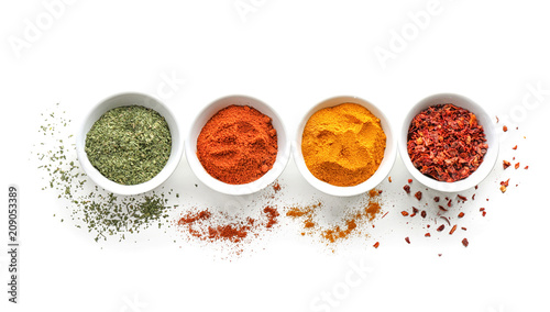 Photo  Bowls with various spices on white background
