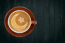Eid Mubarak Greetings - Moon And Star As Coffee Art