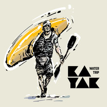 Kayaker. Sketch Style Vector I...