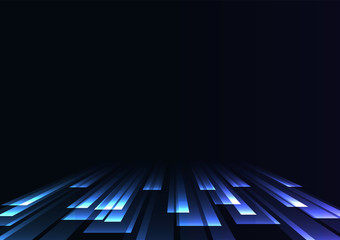 blue overlap stripe rush in dark background, bar layer backdrop, simple technology template, vector illustration