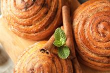Sweet Cinnamon Buns On Wooden ...