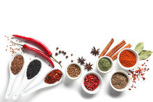 Composition With Various Spices On White Background