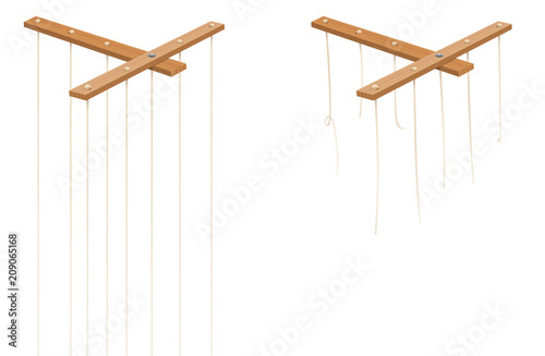 Marionette control bar with intact and broken strings Canvas Print