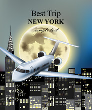 Plane Flying Over New York City At Night Vector. Full Moon And Skyscrapers Backgrounds