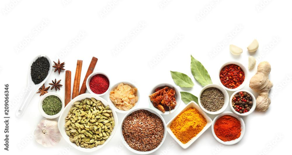 Fototapety, obrazy: Variety of spices on white background