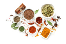 Variety Of Spices On White Bac...