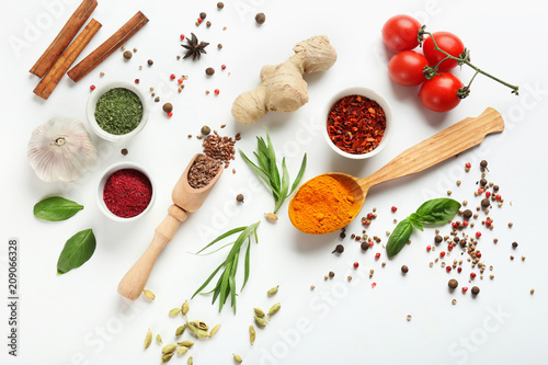 Fresh tomatoes and variety of spices on white background