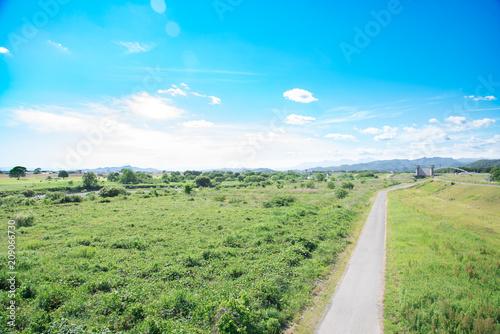 Foto op Plexiglas Blauw 田舎の風景