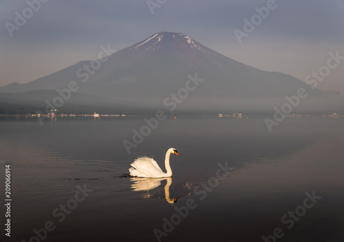Poster de jardin Reflexion Mountain Fuji with reflection at Lake Yamanakako in morning