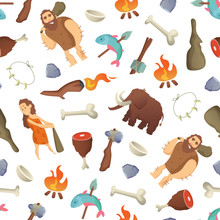 Vector Cartoon Cavemen Backgro...
