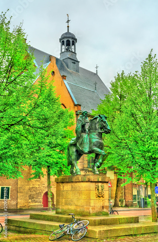 Foto op Canvas Europa Statue of Saint Willibrord near the Janskerk church in Utrecht, the Netherlands