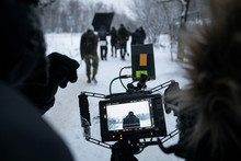 Shooting A Feature Film, Backstage On The Set In The Street In The Winter, The View From The Camera. The Work Of The Cameraman