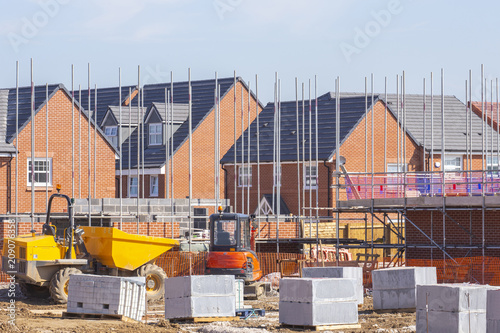 Fotografia New build houses building construction site, Cheshire, England, UK
