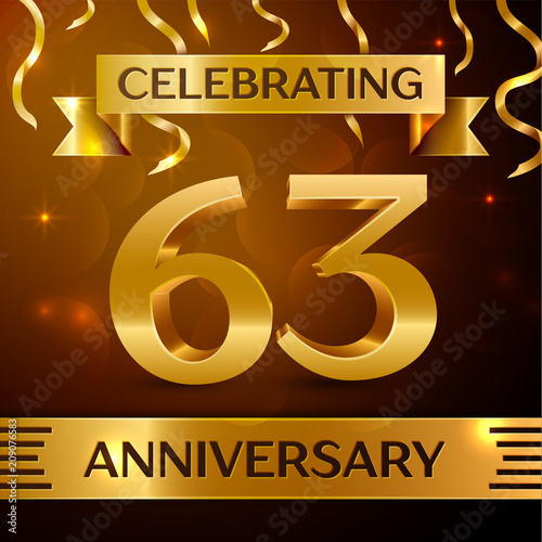 Poster  Realistic Sixty three Years Anniversary Celebration Design
