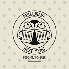 Restaurant Food Music And Beer Vector Illustration Graphic Vector Illustration Graphic Design