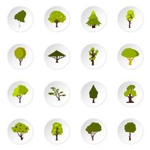 Green Tree Icons Set. Flat Illustration Of 16 Green Tree Vector Icons Set Illustration