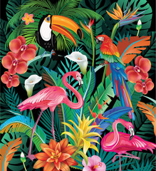 Fototapeta Egzotyczne Composition of Tropical Flowers and Birds