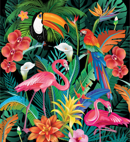 Obraz Composition of Tropical Flowers and Birds - fototapety do salonu