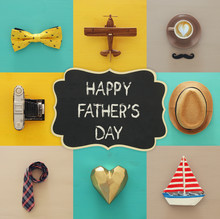 Top View Collage With Man Life Style Objects. Father's Day Concept.