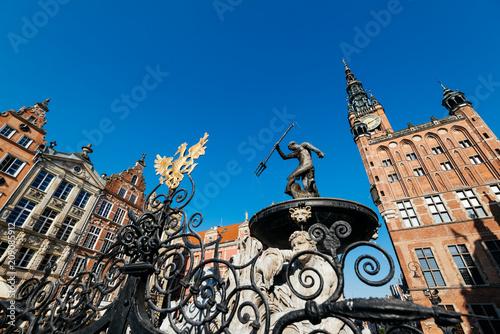 fototapeta na lodówkę Neptune Fountain, Gdansk, Poland.