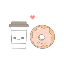 Cute Cartoon Vector Coffee In Love With Donut