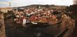 Panorama Aerial View of Cesky Krumlov, the UNESCO world heritage site, Czech Republic