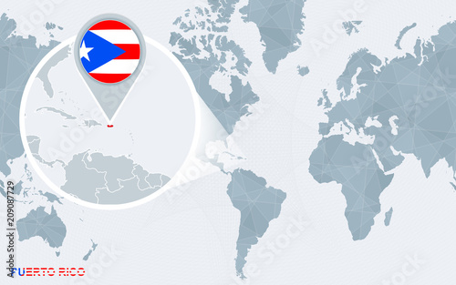 World map centered on America with magnified Puerto Rico. - Buy this ...