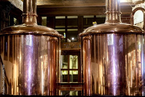 Copper barrels of beer