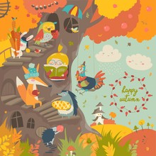 Cute Treehouse With Little Girl And Animals In Autumn Park