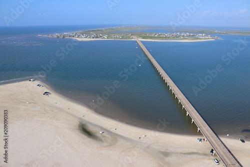 Poster Texas Aerial view of the Southern Texas shoreline, Galveston Island towards San Luis Pass, United States of America