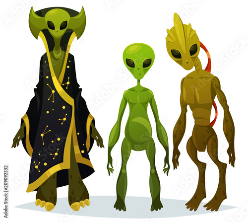 Photo Funny cartoon aliens or extraterrestrial invaders