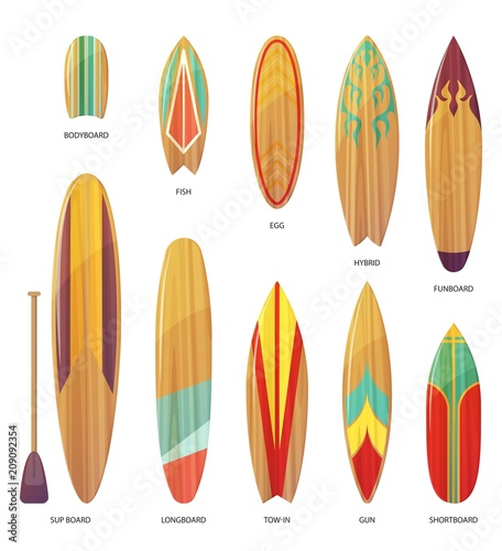 Set of isolated different types of surfboards Canvas Print