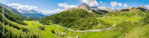 Fotografie, Obraz  Bernina Pass (CH) - Vista aerea panoramica in località La Rosa